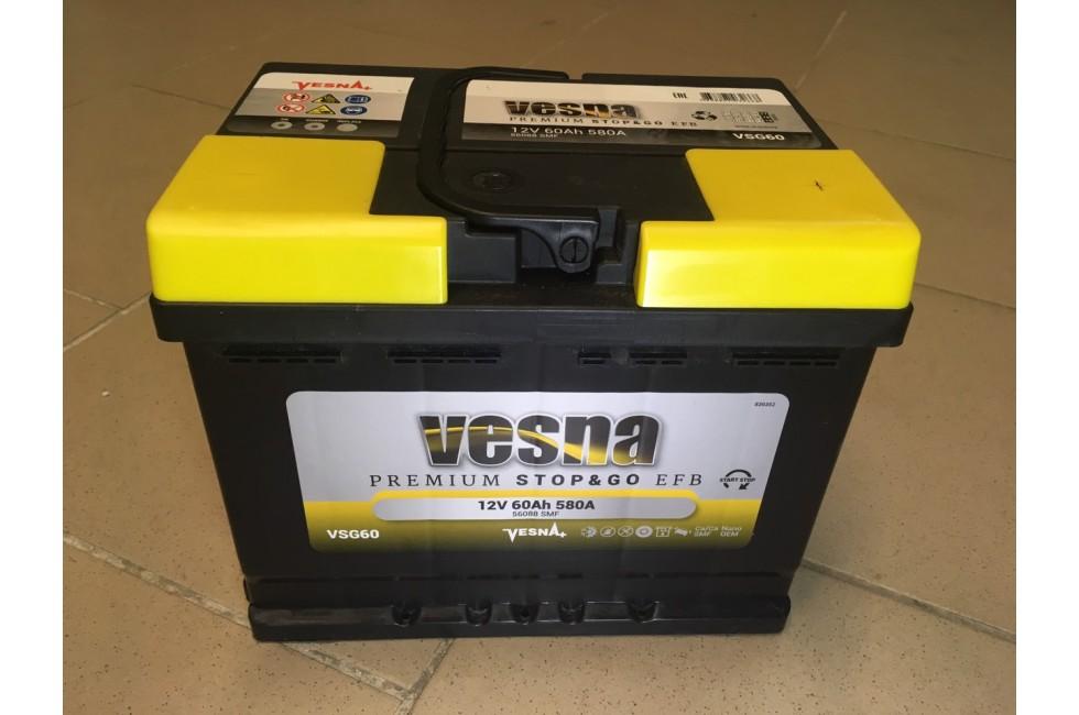 Аккумулятор VESNA EFB 60 a/h R+ 580A (EN)