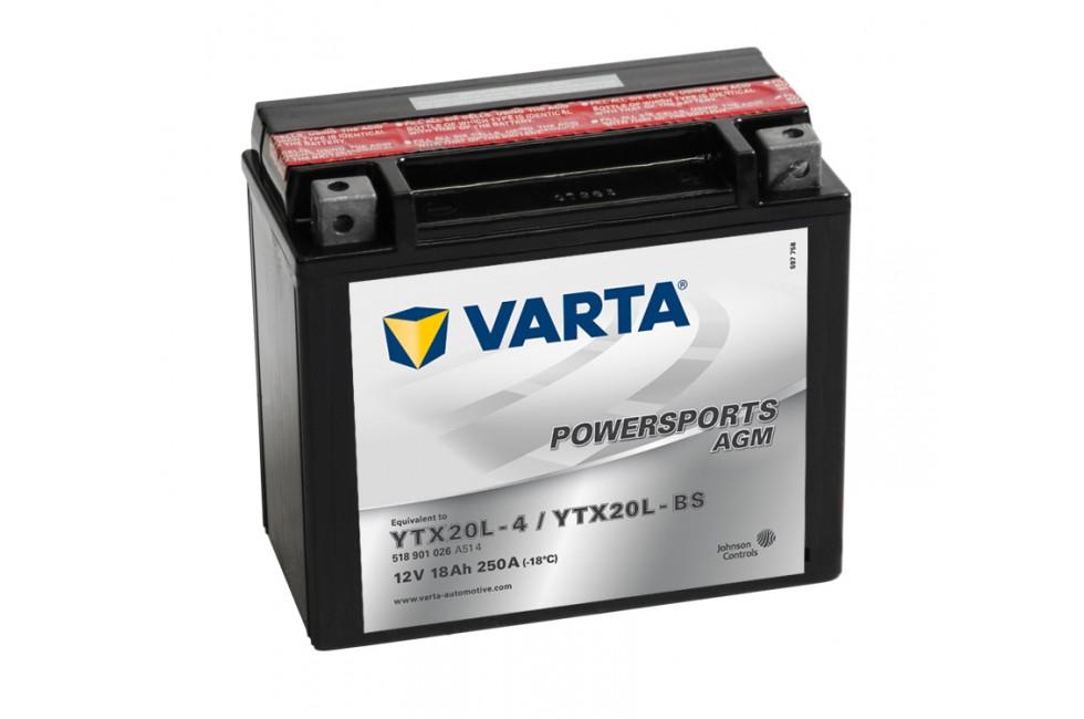 Аккумулятор VARTA POWERSPORTS AGM 518 901 026 (18 A/H), 250A R+