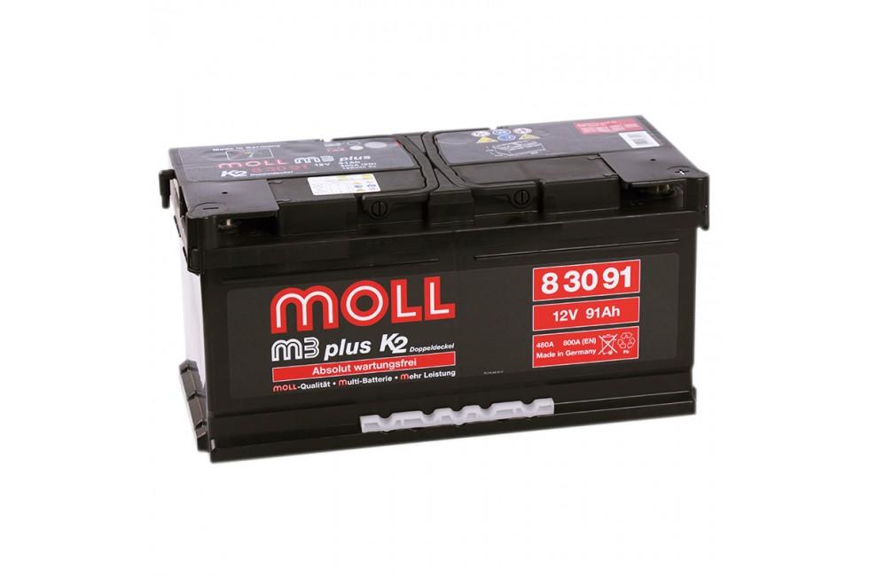 Аккумулятор Moll M3 Plus 91 A/ч 800-900A (EN)