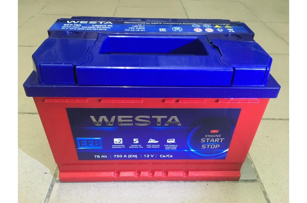 Аккумулятор Westa RED EFB 78 A/h 750A