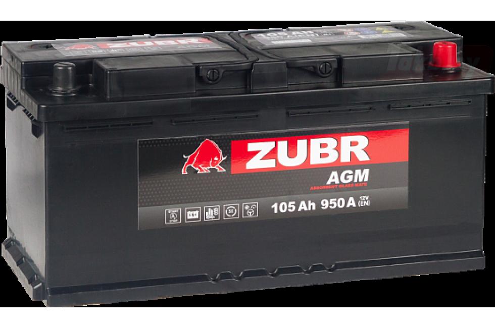 Аккумулятор Zubr AGM 105A/h 950A R+