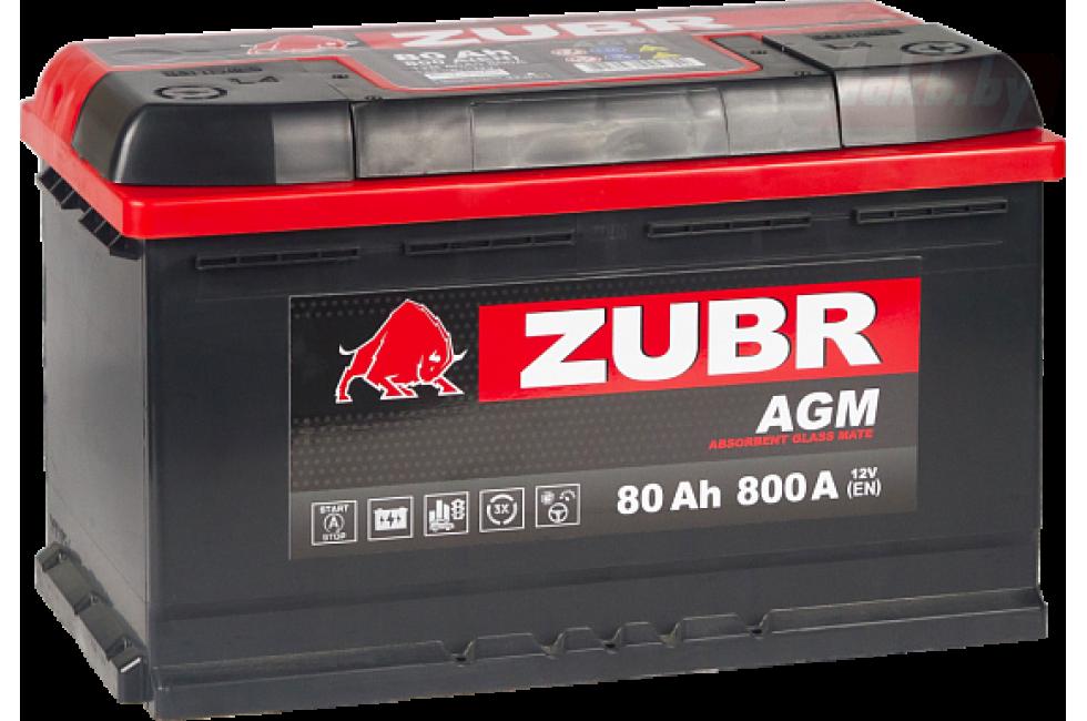 Аккумулятор Zubr AGM 80A/h 800A R+