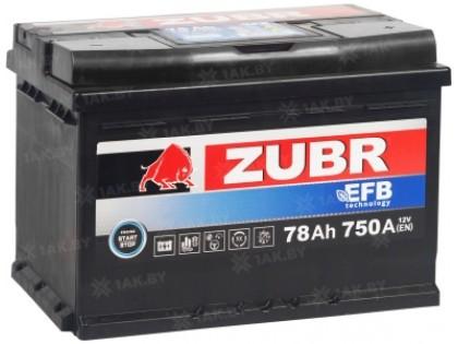 Аккумулятор Zubr EFB 78 A/h 750A R+