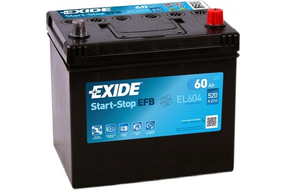 Аккумулятор EXIDE Start-Stop EFB EL604 (60 A/h), 520A R+