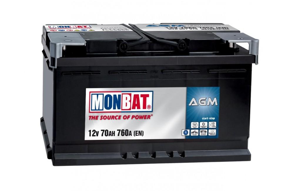 Аккумулятор Monbat AGM (70 A/h), 760A R+