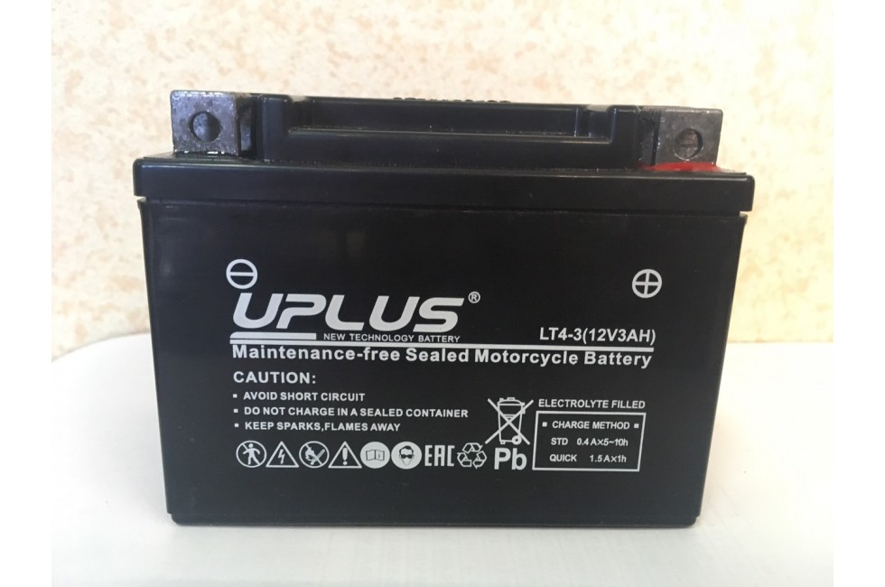 Аккумулятор UPLUS Super Star LT4-3 (YTX4L-BS 503014) (3 Ah R+)
