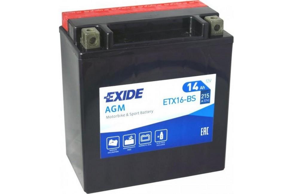 Аккумулятор Exide ETX16-BS (14А/ч) 215А L+