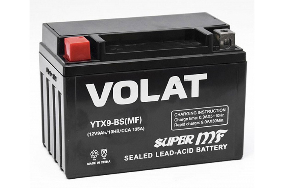 Аккумулятор VOLAT YTX9-BS (MF) AGM 9 A/h 135A L+